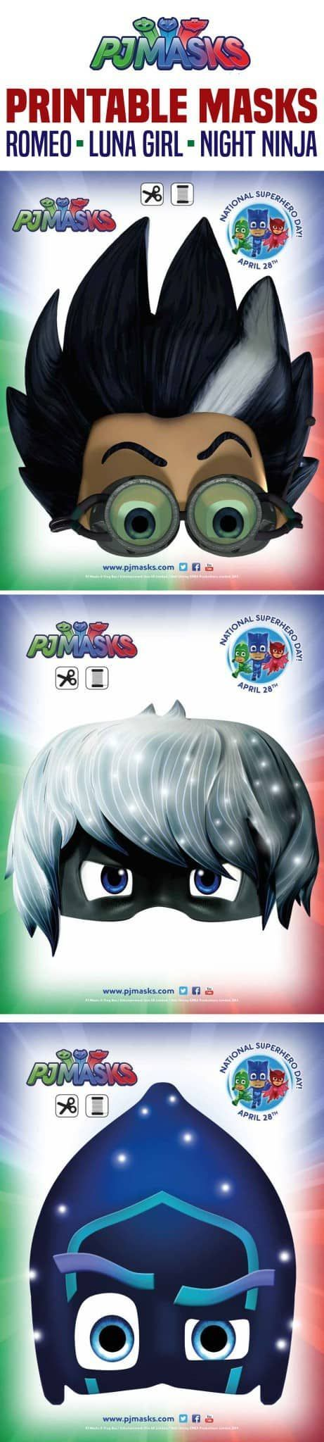 FREE PJ MASKS PRINTABLES! CLICK HERE TO PIN THIS POST The popular Disney Jr show PJ Masks has a NEW website with new games, actvities, and more! To celebrate I have PJ Masks printables – Romeo, Night Ninja, and Lunamasks – click each image to download and print! Click HERE to print Owlette, Gekko, and …