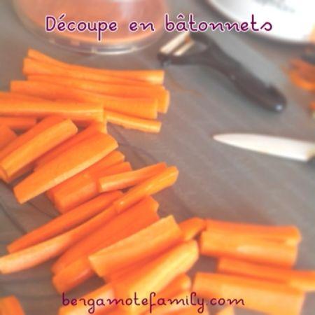 Bâtonnets de carottes cuites à la vapeur