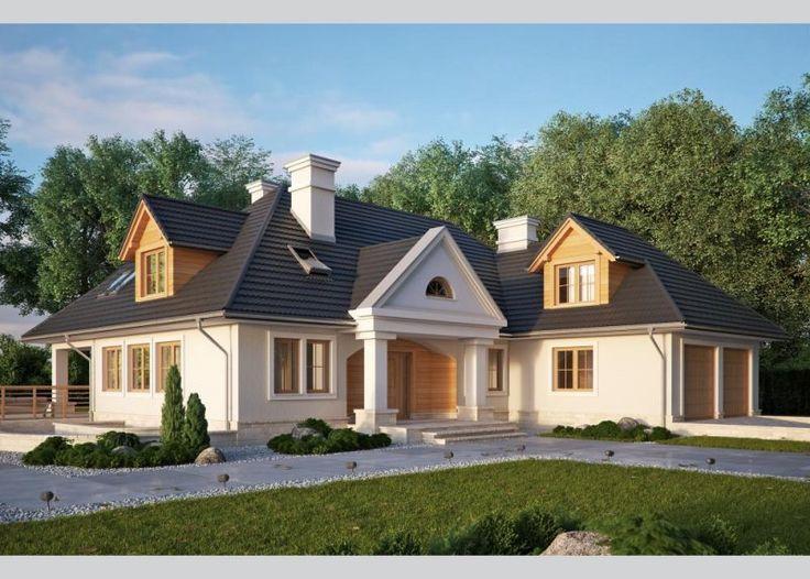 Dom jednorodzinny, podpiwniczony, z  poddaszem użytkowym i dwustanowiskowym garażem.