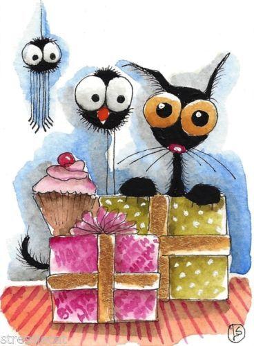 ACEO Original Watercolor Folk Art Stressie Cat Birthday Gift Cupcake Crow Spider | eBay