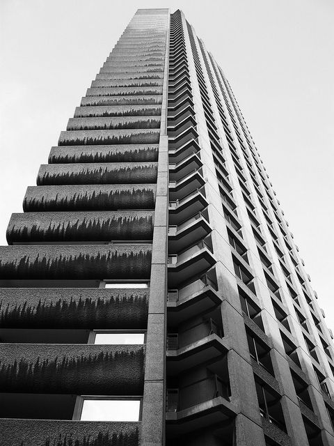 Barbican Estate - Shakespeare Tower. A lot of photography of brutalist architecture comments on ideas that are explored in my work; notions of control and order, not only in regards to their repetitive linear aesthetic but also in relation to their association with totalitarianism.