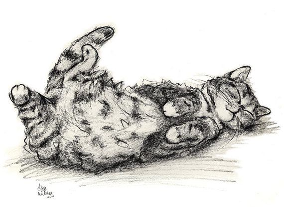 Cat Charcoal Print  Cat Print from an Original door myRudyGirl, $10.00