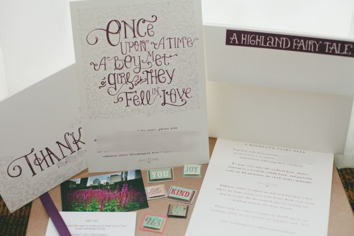 The Sword's fairy tale themed invitation suite. Please excuse the blurs!