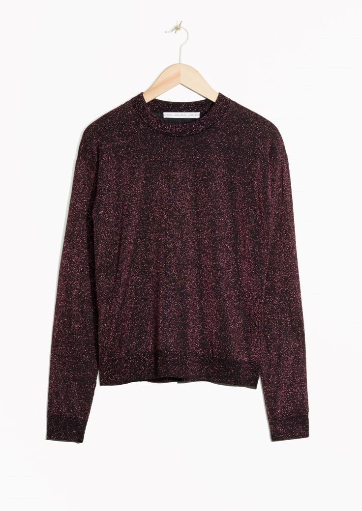 & Other Stories image 1 of Sparkling Merino Wool Sweater in Burgundy