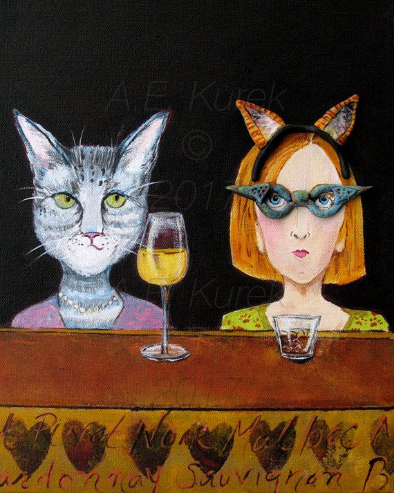 Cat Lady at the Cat Bar 8 x 10 Art Print Funny Cat Art Cat