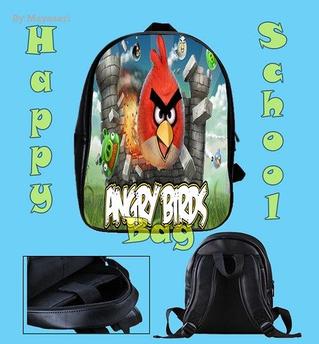 Custom School Bag - MINECRAFT Angry Birds Bag  This high-quality  school bag is the perfect accessory for school children. Made from high-grade PU leather. It is the perfect way for children to carry