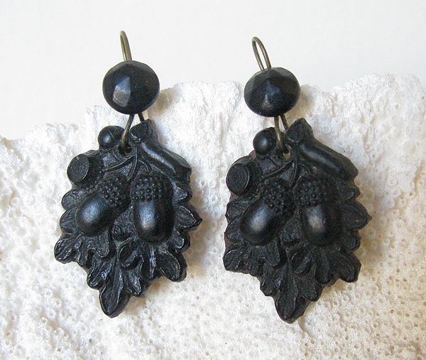 "Victorian Gutta Percha Acorn Earrings      Lovely pair of Victorian-era Gutta Percha earrings with raised acorns. All original wires. They measure approx. 1-5/8"" long including the wires and 3/4"" wide. Beautiful condition."