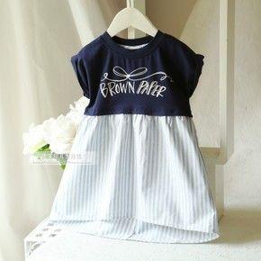 2015年春夏新款童裝女童 短袖蝙蝠衫條紋拼接短袖連衣裙裙衣-淘寶台灣,萬能的淘寶