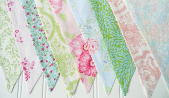 pastel shabby chic bunting - fabric flags banner