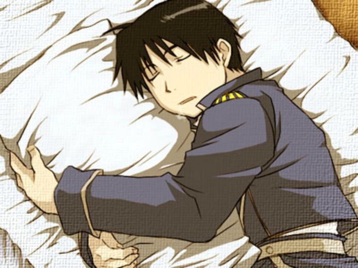 Roy Mustang being adorable. Probably wishing that pillow was a certain Riza Hawkeye :3
