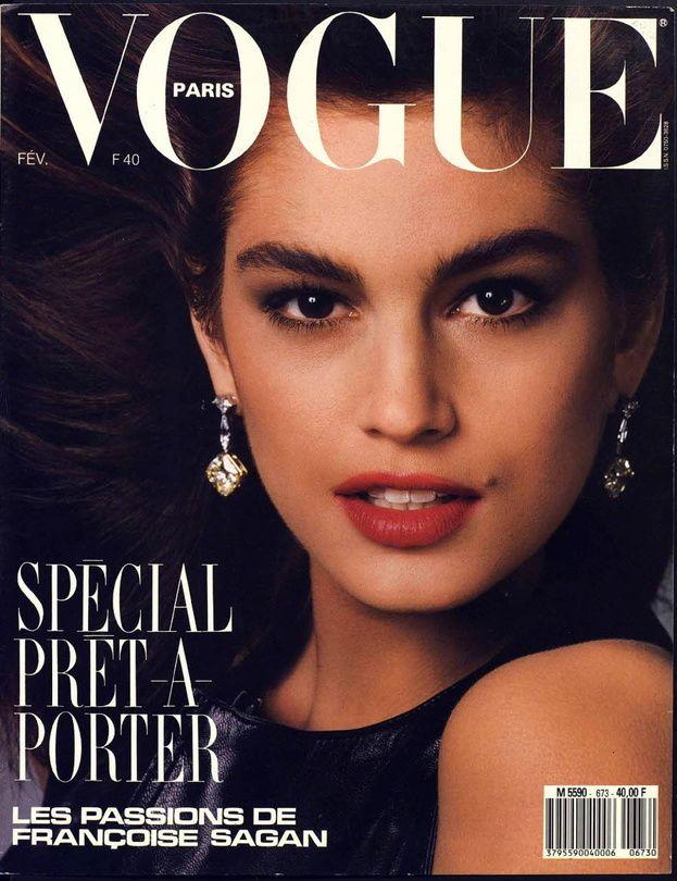 Cindy Crawford en couverture du Vogue Paris Février 1987 http://www.vogue.fr/thevoguelist/cindy-crawford/58
