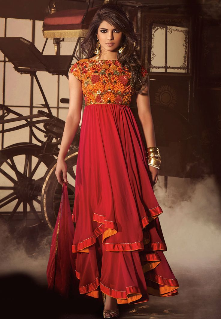 Red Faux Georgette Double Layered Abaya Style Churidar Kameez Online Shopping: KWY823
