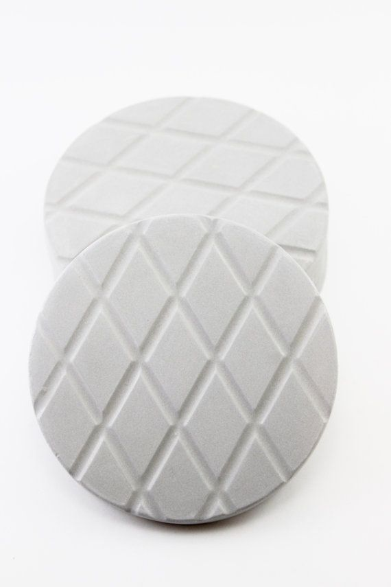 Modern beverage coasters Concrete cup holder Gray cement serving utensils Round industrial decor House warming hostess gift Grid barware mat
