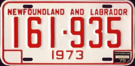 Newfoundland red-on-white series (1973-1975)