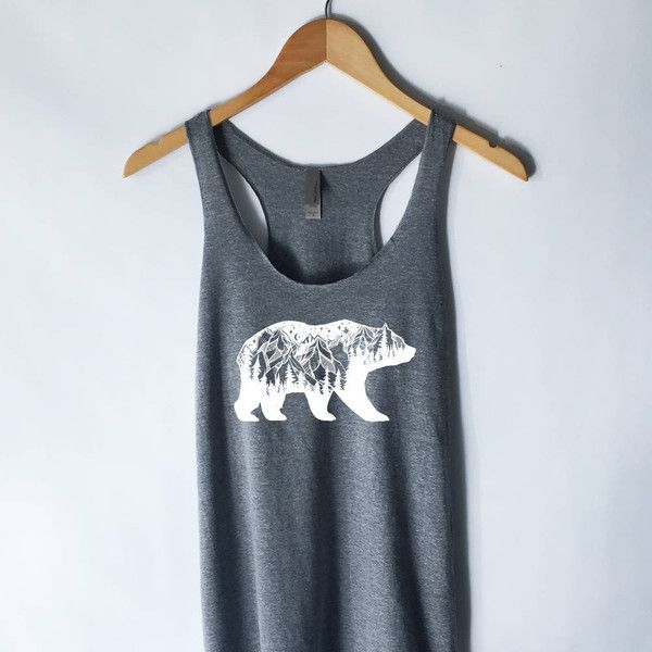 Bear Mountains Tank Top Mountains Tanktop Tee T-Shirt Hiking Shirt... ($16) ❤ liked on Polyvore featuring tops, black, tanks, women's clothing, shirt top, cotton shirts and bear shirt