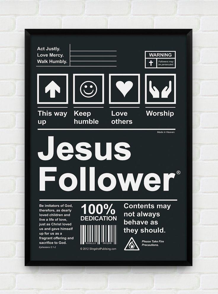 Inspirational, Printable Art, Download and Print JPEG Image - Jesus Follower Christian Poster. $10.00, via Etsy.