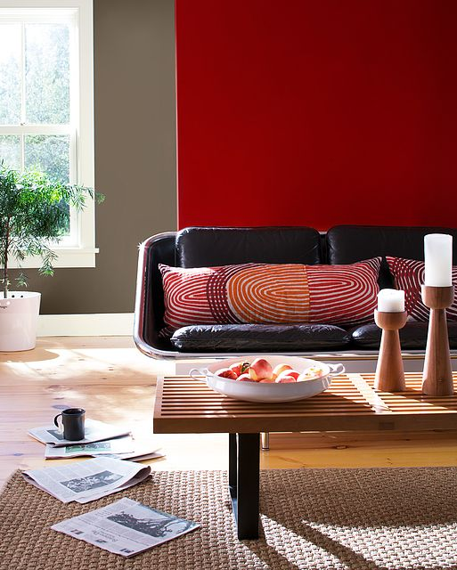 ravishing wall color for red furniture. Near Wall Color  Flamenco Far Coachman s Cape Trim Stoneware 94 best Living Room Samples images on Pinterest Benjamin