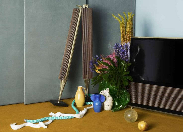 BeoLab 18 and BeoVision 14 dressed in Brass for the Bang & Olufsen Cool Modern Collection.