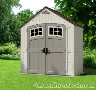 Suncast 7x4 Cascade One Plastic Shed  http://www.greenhousestores.co.uk/Suncast-488-Litre-Plastic-Storage-Box-With-Seat.htm