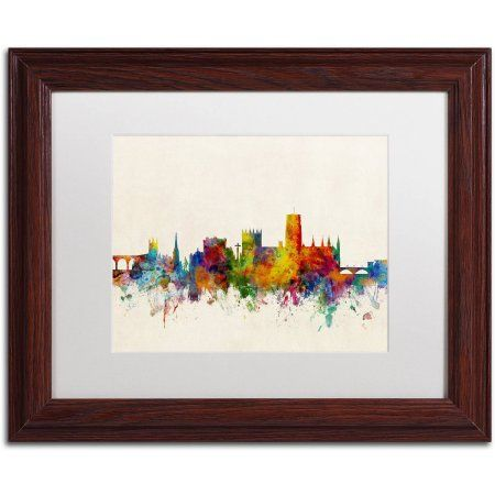 Trademark Fine Art Durham England Skyline Beige Canvas Art by Michael Tompsett, White Matte, Wood Frame, Size: 11 x 14, Multicolor