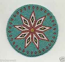 "Native American Beaded Medallion Designs | VINTAGE NATIVE AMERICAN HAND BEADED MEDALLION 4 7/8"" DIAMETER ...  NICE"