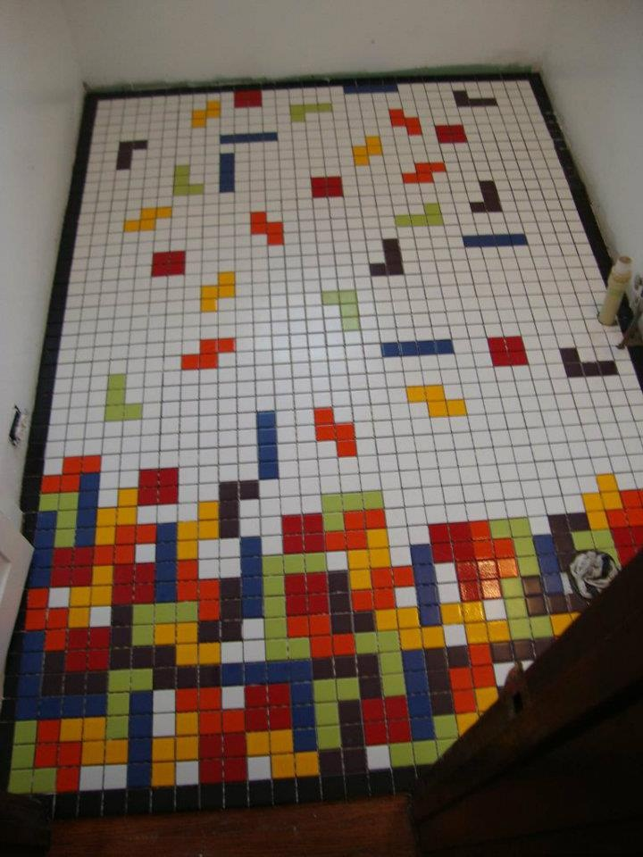 Awesome custom Tetris-tiled bathroom!