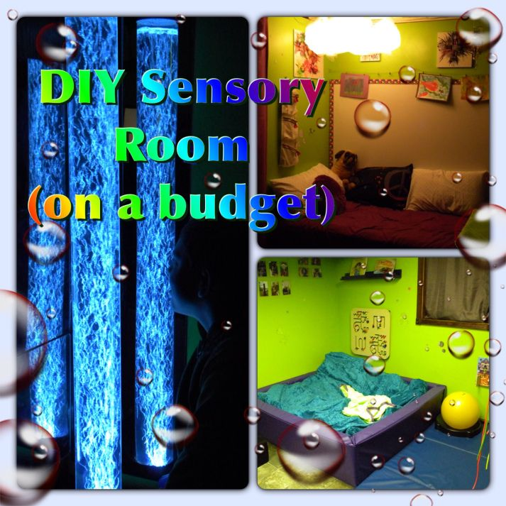 DIY Sensory Room with links to affordable bubble tubes, lights, etc