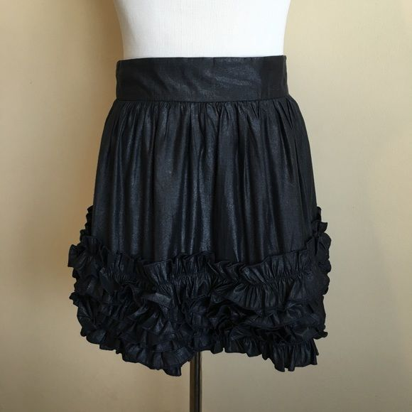 Fun Dressy Skirt Navy short skirt with ruffles. Has a shine to the material. Great condition!!! Forever 21 Skirts