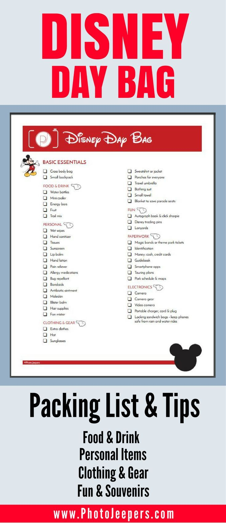 If you're planning a trip to Disney, you'll want to check out this Disney packing list first. It has everything you need to bring with you inside the Disney park including things to pack for kids. This packing list will be a lifesaver for Disney or any amusement park you may travel to this year. It includes items and tips for food & drink, clothing & gear, personal items and budget-friendly souvenirs and things to keep kids happy during the day. Make sure you save this to your Disney board.