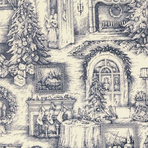 Traditions Christmas Toile Fabric in Night Blue and Cream. $7.99, via Etsy.