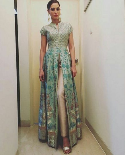 Nargis Fakhri in a sage green banaras hand woven jacet with silk gold pants by Anita Dongre - Bollywood - Celebrity fashion 2016