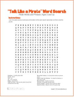 """""""Talk Like a Pirate"""" Word Search 