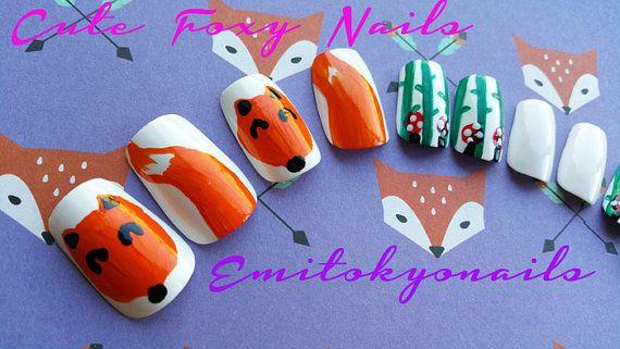 Foxy24 NailsFoxy NailsSquare nailsKawaii by emitokyonails on Etsy