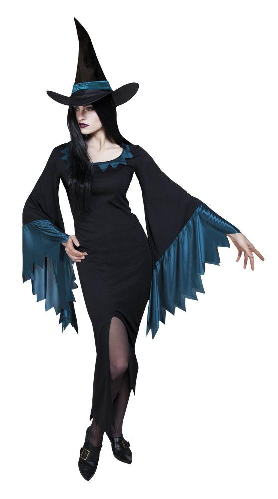 Liehuva noita. Mustasävyinen mekko on varustettu julmetun seksikkäällä halkiolla ja hihansuissa liehuvat upeanväriset yksityiskohdat. Naamiaisasukokonaisuuden kruunaa noitamainen hattu.