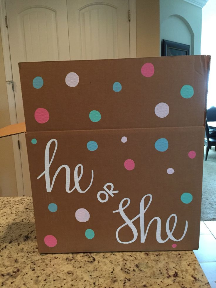 Gender Reveal Box by MeggsMonograms on Etsy