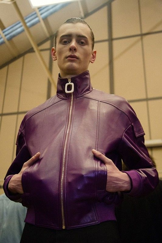 Purple jacket backstage at J.W.Anderson AW15 LCM. See more here: http://www.dazeddigital.com/fashion/article/23160/1/j-w-anderson-aw15