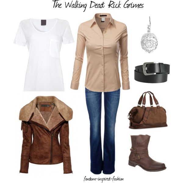 """""""The Walking Dead's Rick Grimes Inspired Outfit"""" by fandom-inspired-fashion on Polyvore. Inspired by the Walking Dead's Rick Grimes, with a layered t-shirt and button-down shirt, jeans and boots. Sheepskin jacket is a more fashionable version of his black sheepskin. Black belt, brown bag and police badge necklace accessories."""
