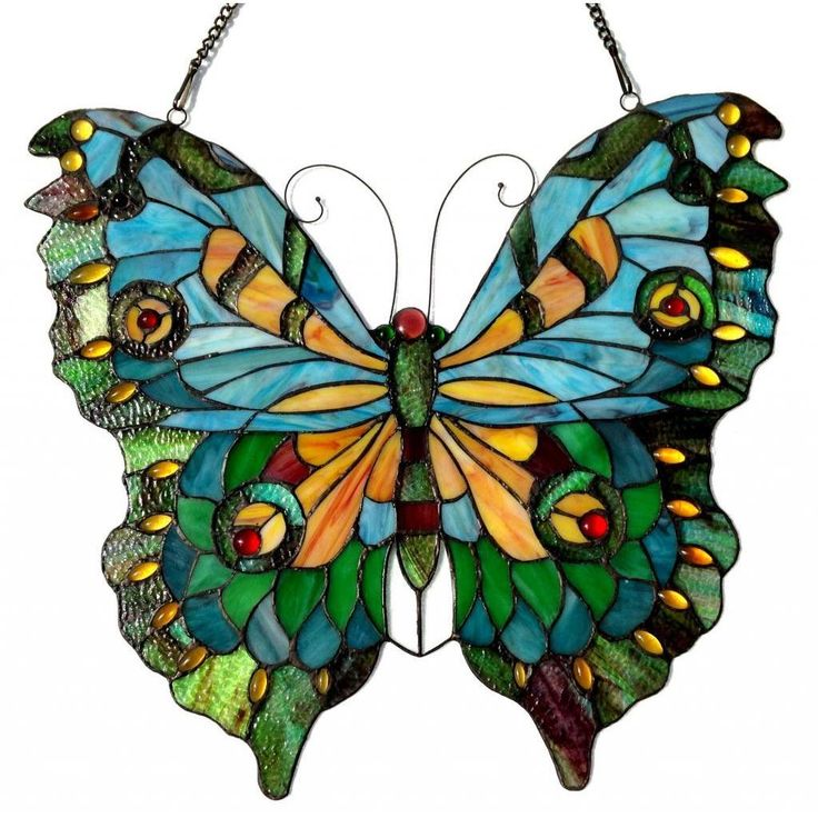 This hand crafted, Tiffany style butterfly window panel/ sun-catcher will brighten up any room! The beautiful blue, orange and aqua color art glass are hand crafted from art glass and mounted on a met