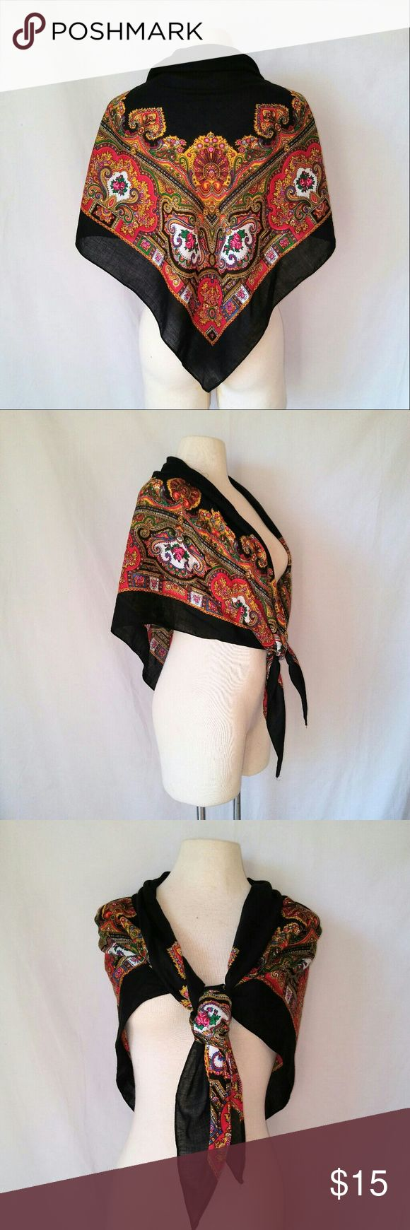"""2for1 """"Chantilly"""" Shawl Absolutely Stunning """"I feel very Chantilly today"""" Black Pink Yellow and Roses Shawl Wrap. Shawl / Shrug / Cover Up :: Perfect for Prom! Made in Japan.  In excellent used condition. From a smoke free home. Make an offer! SAVE on SHIPPING & get a DISCOUNT by making a BUNDLE! Get 20% off on 2+ items. 2for1 SCARF SALE: Buy one """"2for1"""" scarf at full price and get another scarf of equal or lesser value for free! Purchase the first scarf, comment on the second scarf, & I'll…"""