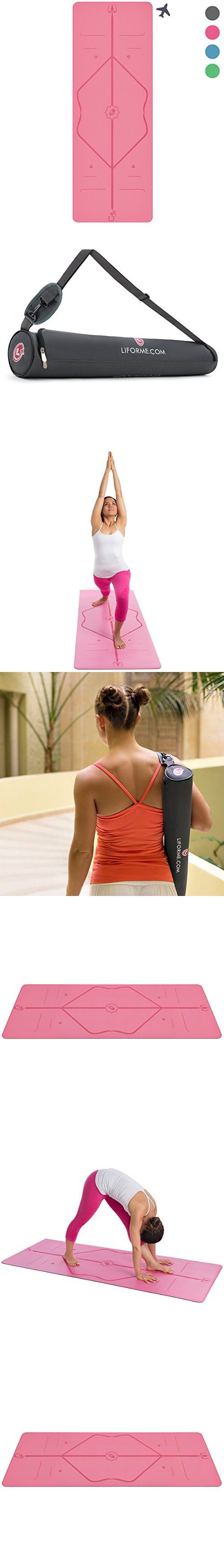 Liforme Travel Yoga Mat - World's Best Eco-Friendly, Light, Portable Non Slip Yoga Mat With Original Alignment Marker System. Available in Grey, Pink, Blue and Green … (Pink)