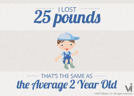 I lost 25 pounds! That is the same as the average 2 year old.: