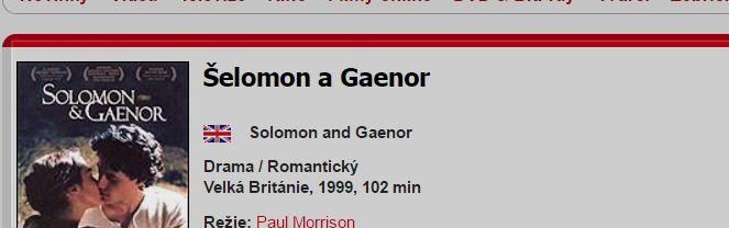 Šelomon a Gaenor / Solomon and Gaenor (1999)   ČSFD.cz