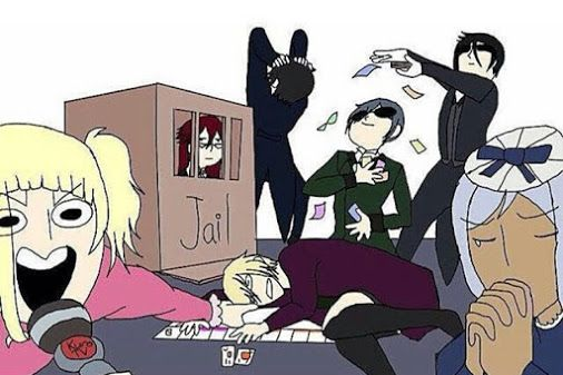 So Grell is in prison, Claude is freaking out, Sebastion is making it rain, Ciel is dancing with the money, Hannah is praying, Alouis passed out on the floor, and Lizzie is commentating... I now want to play monopoly!!