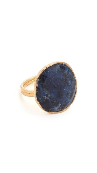 A large faceted sodalite stone studs this rustic Nakamol ring