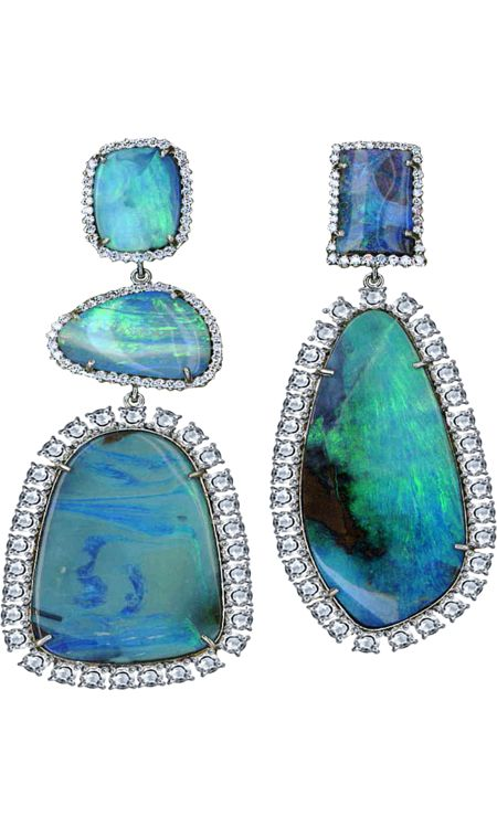 Gasp!: Irene Neuwirth, Bouldering Opals, Diamonds Earrings, Diamonds Collection, Mismatched Bouldering, Fashion Style, Black Opals, Opals Earrings, Gold Earrings