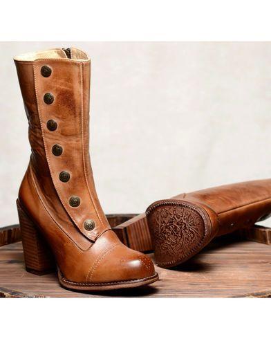 Oak Tree Farms Tan Amelia Rustic Boots - Round Toe, Tan