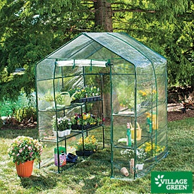 Village Green Deluxe Walk-In Greenhouse - I want this for next year!!!  Hopefully it will go on sale again at the end of the season: Green Houses, Green Thumb, Walks In Greenhouses, Minis Greenhouses, Delux Walks In, Walkin Greenhouses, Gardens Tools, Village Green, Old Window