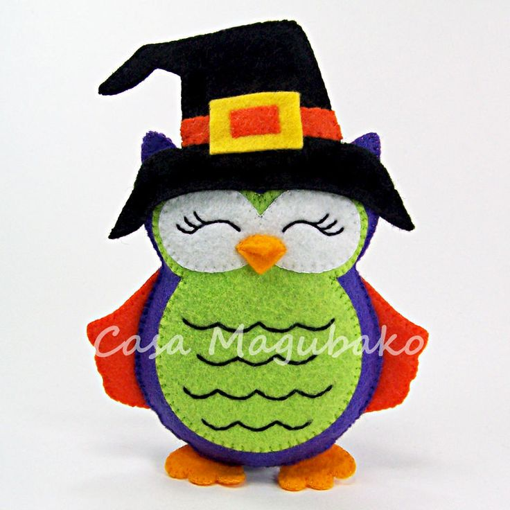 Felt Halloween Owl Ornament - Digital Sewing Pattern - DIY - PDF File Tutorial - product images of
