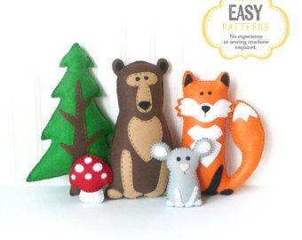 Woodland Animal Sewing Patterns Mini by LittleSoftieShoppe on Etsy