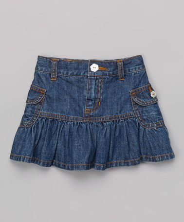 This Blue Denim Ruffle Cargo Skirt - Toddler & Girls by Love U Lots is perfect! #zulilyfinds